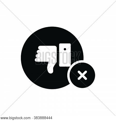 Black Solid Icon For No Negative Refusal Rejection Thumbs-down  Unassertive Dislike Unlike Cancel