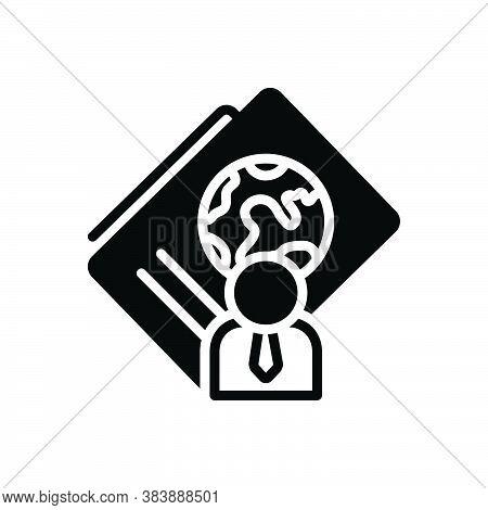 Black Solid Icon For Immigration Passport Document Identification Visa Emigration International Map