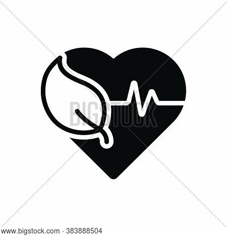 Black Solid Icon For Health Well-being Ehealth Healthcare Heartbeat Heart