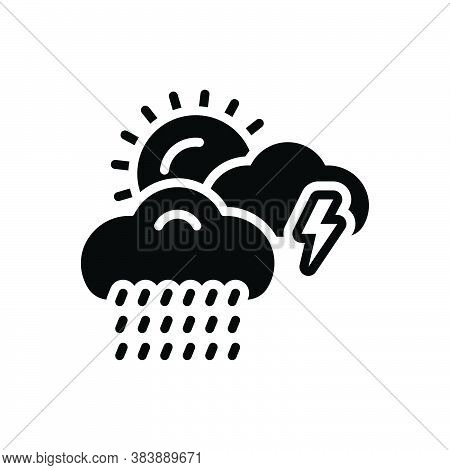 Black Solid Icon For Weather Storm Thunder Burr Rumble Rain Rainfall Raindrops Wet-weather  Drizzle