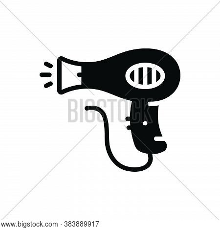 Black Solid Icon For Hair-dryer Hair Dryer Hairdresser Blowing Hot Accessories Haircare Dryer Electr