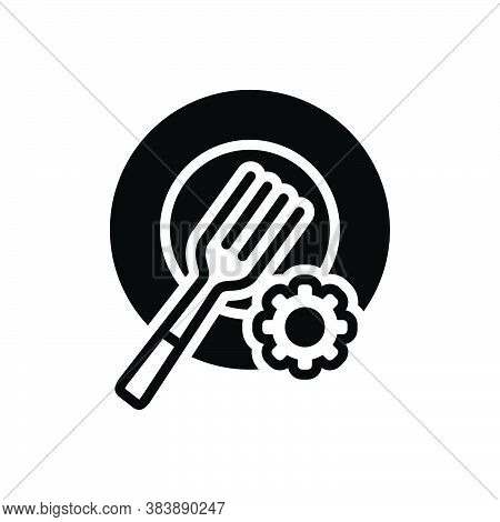 Black Solid Icon For Plate-setting Plate Setting Fork Catering Dishware Restaurant Equipment