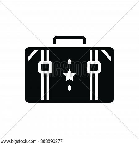 Black Solid Icon For Suitcase Portmanteau Container Accessory Carry Travel-bag Valise Vanity-case Ba