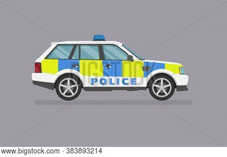 Vector Suv Car. English Car Police Car Side View On White Background.