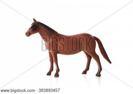Horse Toy Isolated On White Background. Farm Animal