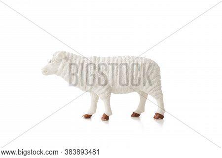 Sheep Toy Isolated On White Background. Farm Animal.
