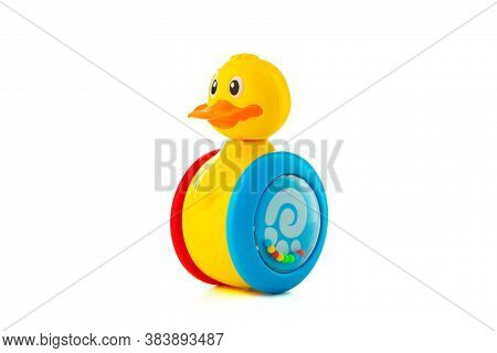 Baby Duck Toy Isolated On White Background