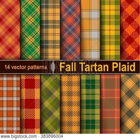 Set Autumn Tartan Seamless Pattern Background