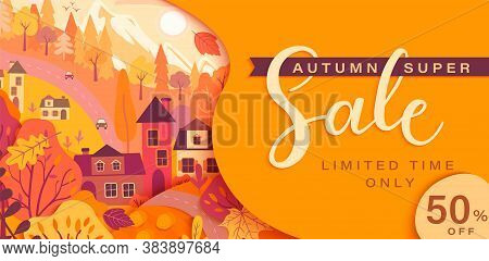 Autumn Sale Card With Fall Countryside Landscape: Trees, Houses, Mountain.big Discounts In New Seaso