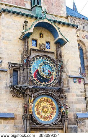 Prague Astronomical Clock Orloj With Small Figures Located At The Medieval Old Town Hall Building In