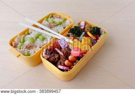 Japanese Cuisine - Traditional Homemade Bento Box With Rice, Meat, Egg, Fish, Vegetables And Grains.