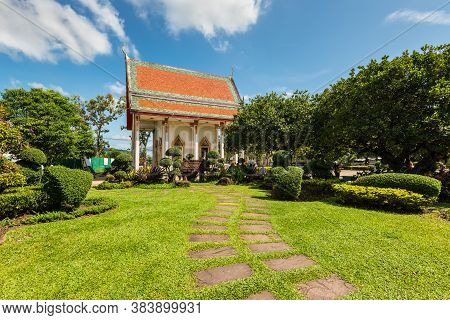 Phuket, Thailand - November 29, 2019: Beautiful Green Garden And Building On The Territory Of The Bu