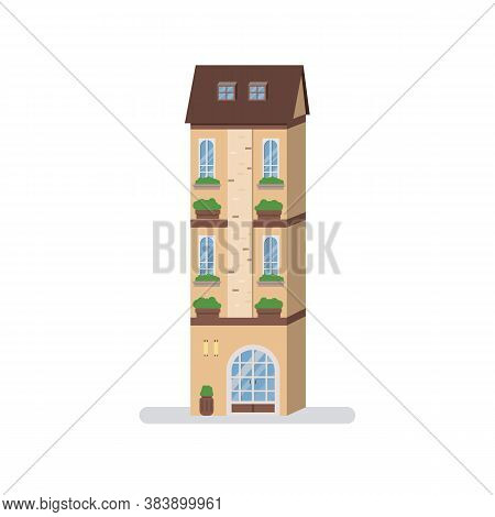 Retro Building With Isolated White Background.apartment Flat Vector.townhouse In Urban