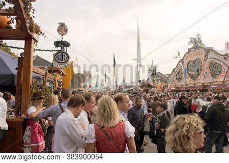 Munich, Germany-september 30, 2017: Oktoberfest, Munich. A View Of The Street Near The Entrance To T