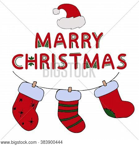 Garland Of Red Dressy Socks For Gifts With The Text Merry Christmas On A White Background, Cute Pict