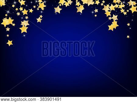 Yellow Festive Stars Vector Blue Background. Twinkle Space Texture. Glitter Pattern. Golden Xmas Spa