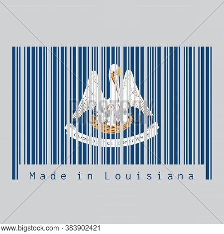 Barcode Set The Color Of Louisiana Flag, The States Of America. A Mother Pelican
