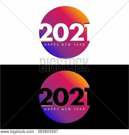 New Year 2021. 2021 Number In Circle Concept. 2021 Text. Happy New Years 2021 Design Vector For Blac