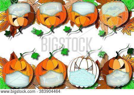 Beautiful Halloween Background On Pumpkins Wearing A Medical Mask
