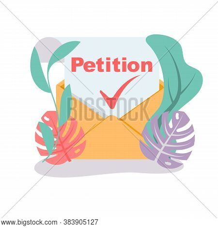 Landing Page Petition. An Envelope With A Letter Of Approved Petition. Isolated Icon On White Backgr