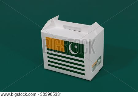 Azad Kashmir Flag On White Box With Barcode And The Color Of Nation Flag On Green Background. The Co