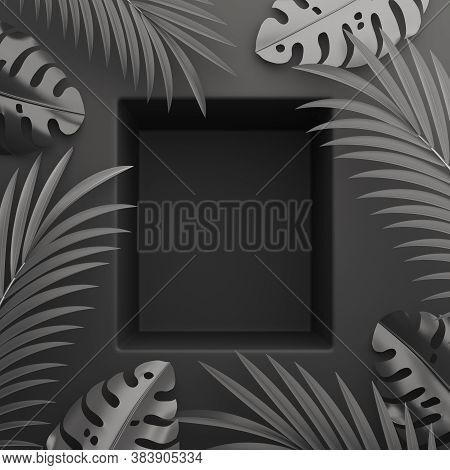 Black Friday Display Shelf Podium Background With Palm Leaves, Product Display Mock Up On Studio Lig