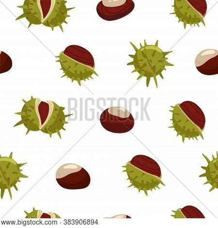 Autumn Seamless Pattern. Chestnuts With Peels. Print For Fabric, Web Page Background, Seasons Greeti