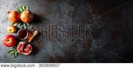 Rosh Hashanah (jewish New Year Holiday), Concept Of Traditional Or Religion Symbols On Dark Stone Ba