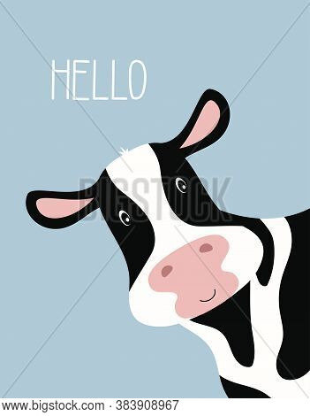 Cartoon Cute Cow Girl And Inscription Hello, Greeting Card With Charming Pet On Blue Background, Vec