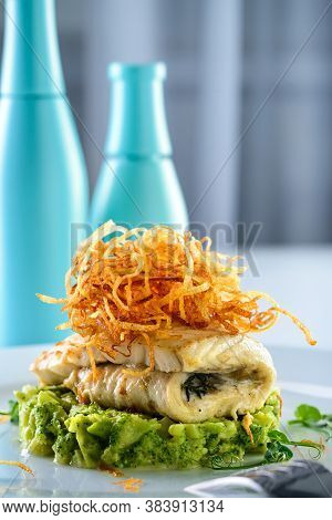 Healthy Food Wild Organic Fresh Sea White Cod Fish With Broccoli, Onions. The Concept Of Diet Light