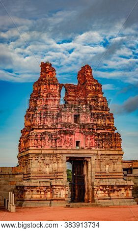 Vithala Temple Ancient Stone Art Entrance Gate With Amazing Blue Sky At Hampi Ruins Image Is Taken A