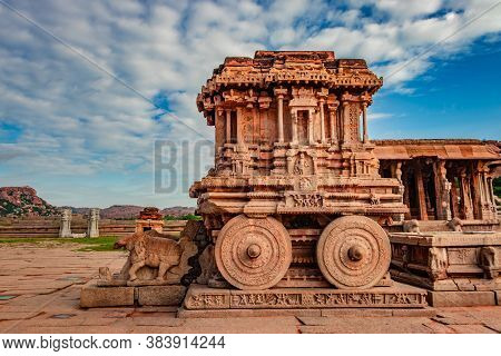 Hampi Stone Chariot The Antique Stone Art Piece From Unique Angle With Amazing Blue Sky