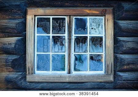 Window Of A Traditional Norwegian Hut
