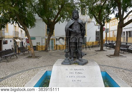 Elvas, Portugal - February 21, 2019: King D. Manuel I Statue In Elvas Alentejo, Portugal