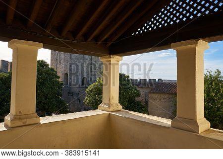 Elvas, Portugal - February 21, 2019: View Of Elvas Castle Windows Terrace In Alentejo, Portugal