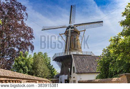 Historic Windmill De Hoop In The Center Of Loenen Aan De Vecht, Nethelands