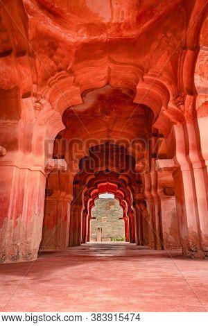 Lotus Palace Interior Hampi Antique Stone Art From Unique Angle
