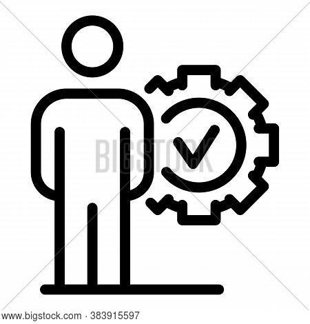 Man Mark Done Icon. Outline Man Mark Done Vector Icon For Web Design Isolated On White Background