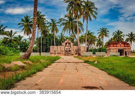 Narasimha Lakshmi Temple Hampi Antique Stone Art From Unique Angle With Amazing Sky
