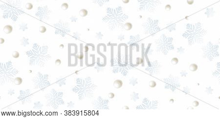 Beautiful Seamless Pattern With Paper Snowflake, Snowball On White. Winter Season Symbol Great For N