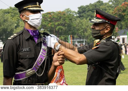 Dehradun, Uttarakhand/india- August 15 2020: Newly Commissioned Army Officer Getting Rank From His P