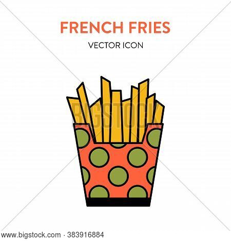 French Fries Colorful Icon. Vector Illustration Of Fried Potato Slices In Paper Package. Fast Food F