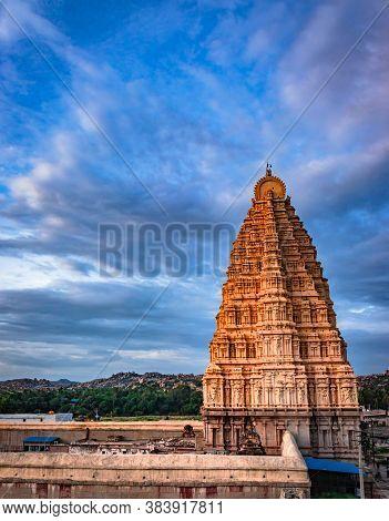 Temple Entrance With Bright Dramatic Sky Background At Evening Shot Is Taken At Hampi Karnataka Indi