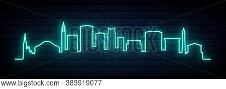 Blue Neon Skyline Of Birmingham. Bright Birmingham City Long Banner. Vector Illustration.