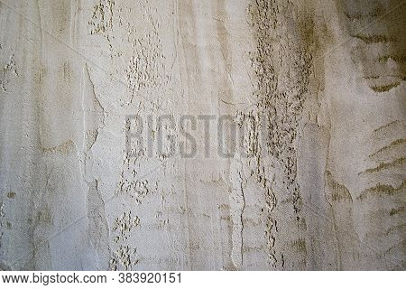 Wall Fragment With Colored Plaster. Old Wall Effect, Scandinavian Style. Beige Tones, Heterogeneous