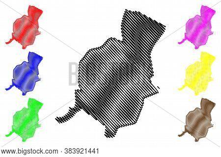 Hamadan City (islamic Republic Of Iran, Persia, Hamadan Province) Map Vector Illustration, Scribble