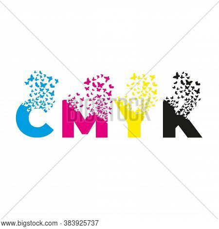 Letters With Effect Of Destruction. Dispersion. Butterfly, Moth. Cmyk.
