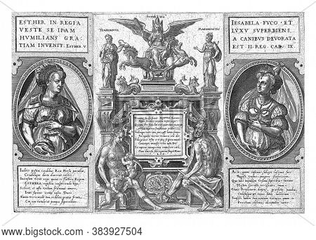 Adam and Eve in an Allegorical Setting, Abraham de Bruyn, 1581 Text in Cartouche with Signature L.C.S. In the middle below naked Adam and Eve with Esau and Jacob, vintage engraving.