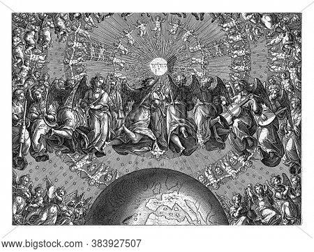 God's answer to Job, seraphim and cherubs playing music float in circles around the earth. In the middle of the whirlwind the Hebrew letters for Jaweh, vintage engraving.