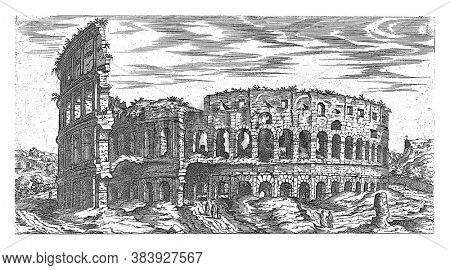 Colosseum in Rome, Etienne Duperac, 1575 View of the Colosseum in Rome, vintage engraving.